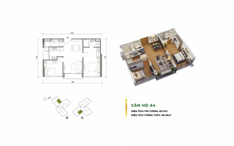 layout căn hộ eco green
