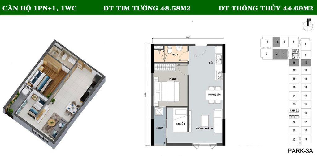 Layout căn hộ Picity 1PN+1-1WC