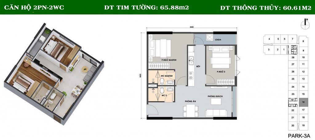 Layout căn hộ Picity 2PN-2WC
