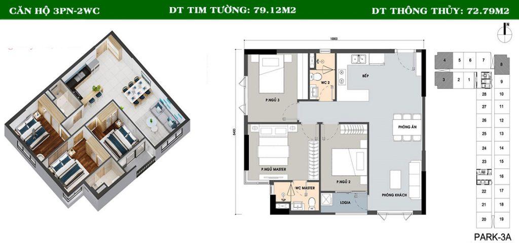 Thiết kế căn hộ 3PN-2WC