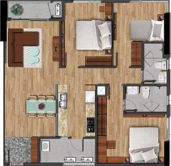 Mặt bằng căn hộ 101,11m2