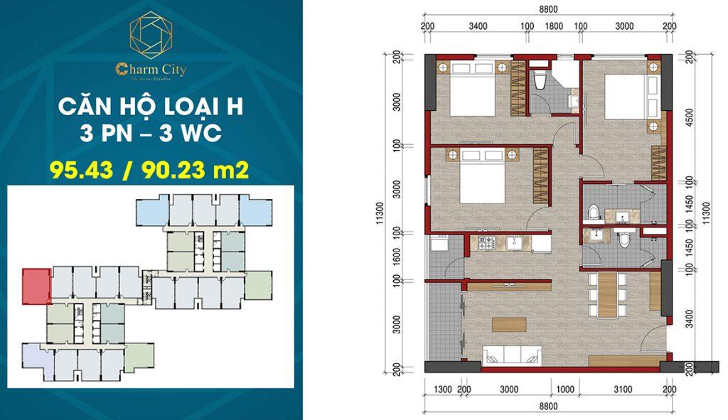 Layout căn hộ 3PN-3WC 94,43m2