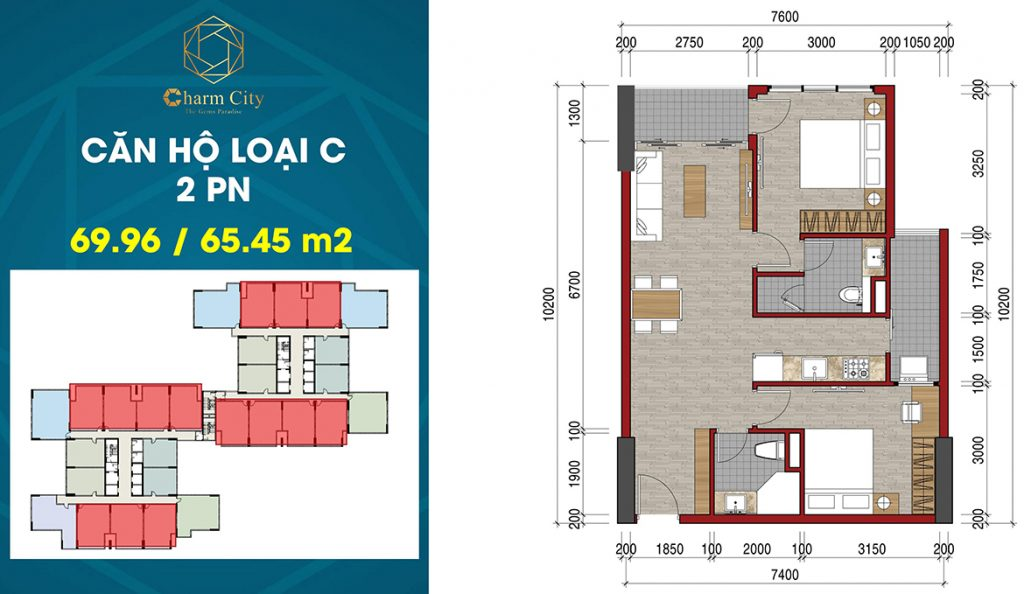 Layout căn hộ 2PN 69m2