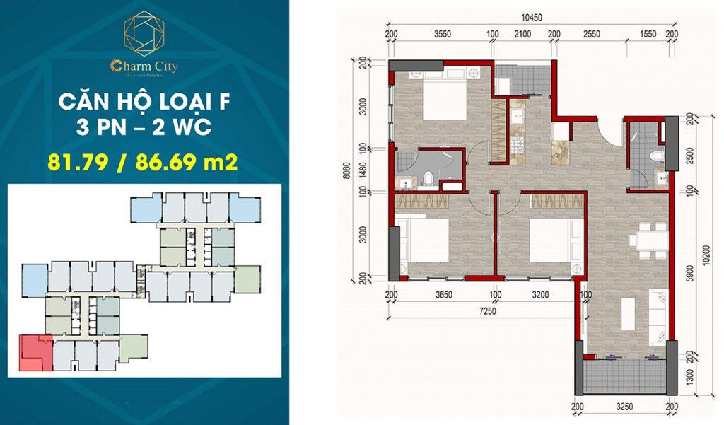 Layout căn hộ 3PN-2WC 81,79m2