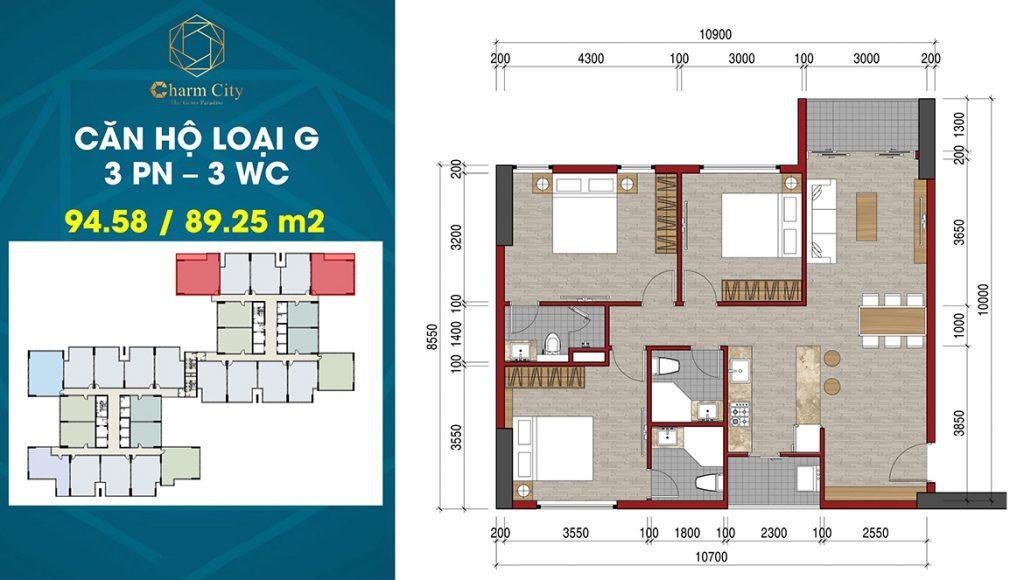Layout căn hộ 3PN-3WC 94,58m2