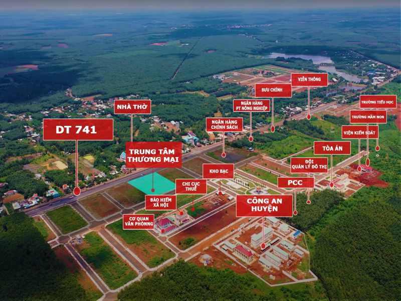 đất trung tâm hành chính mới Phú Riềng