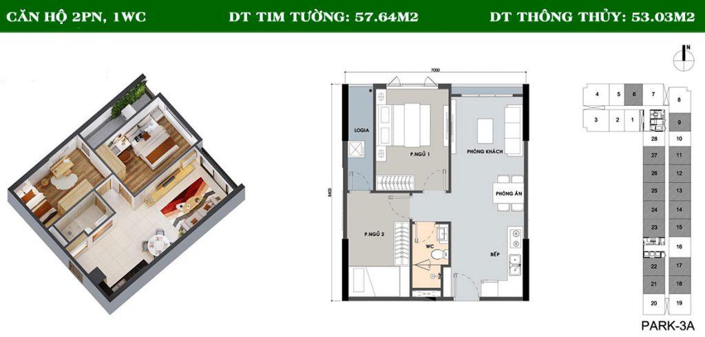 Layout căn hộ Picity 2PN-1WC