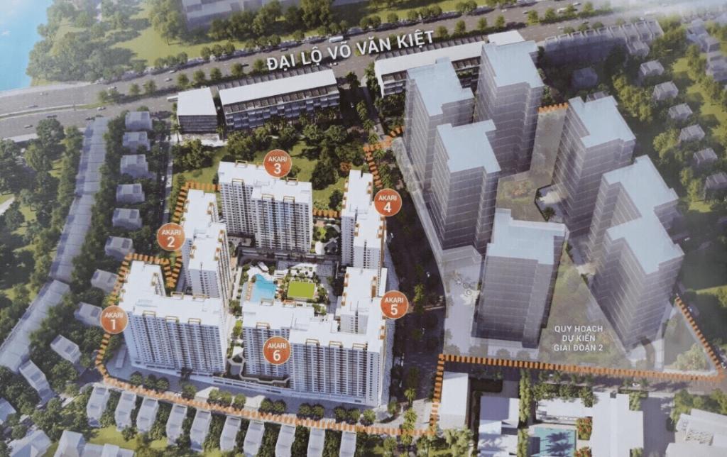 Mặt bằng tổng thể các block Akari City